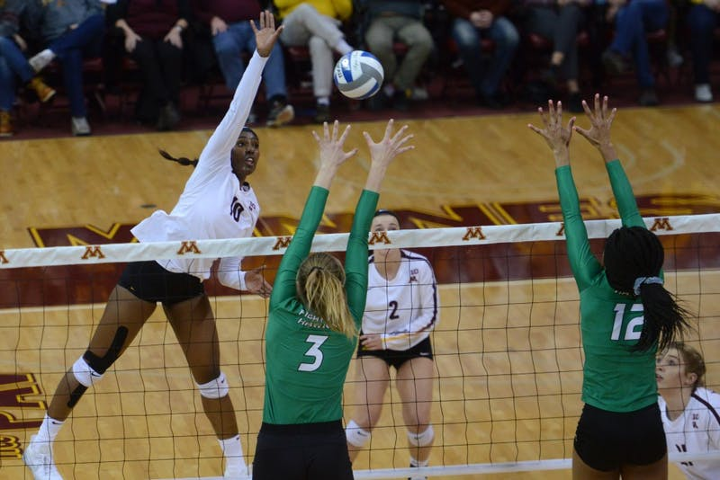 Freshman opposite Stephanie Samedy reaches to block the Fighting Hawks at Maturi Pavilion on Friday, Dec. 1.