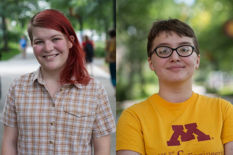 Em Conway and Luna Johnson pose for a picture on the University of Minnesota campus.