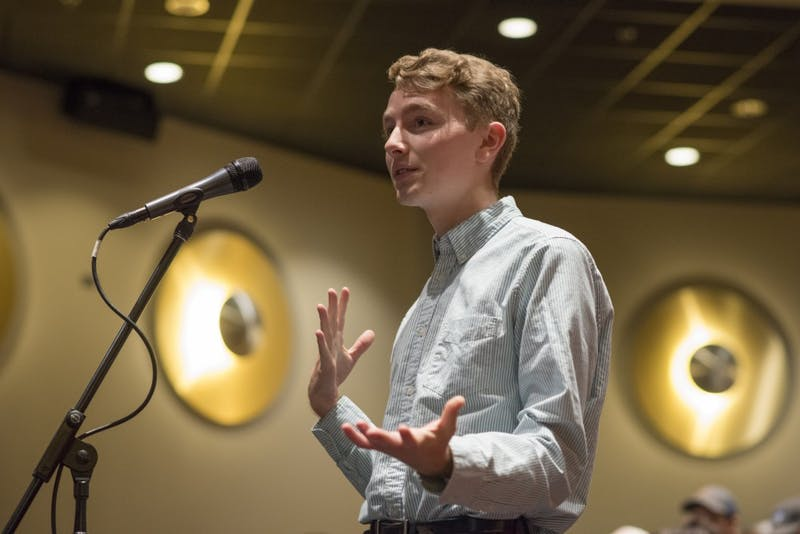 Austin Kraft, student representative to the Board of Regents, spoke to the board at a listening session in Coffman Memorial Union on Monday, Sept. 24. Kraft said he thinks the next president should continue the positive work that President Kaler has done, but also to use it as an opportunity to improve on inclusiveness at the university.