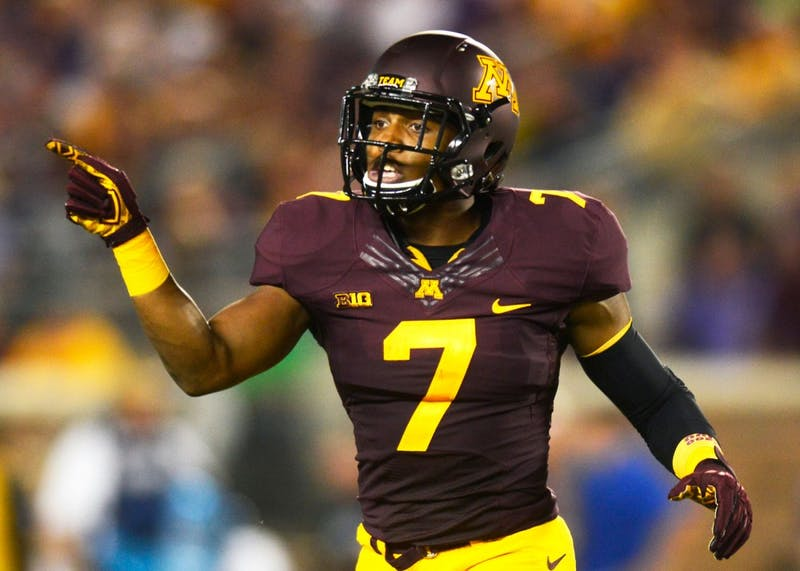 Damarius Travis at TCF Bank Stadium on Sept. 3, 2015, where the Gophers faced TCU. The game was Travis' last of the 2015 season after he sustained a hamstring injury during a punt-return.