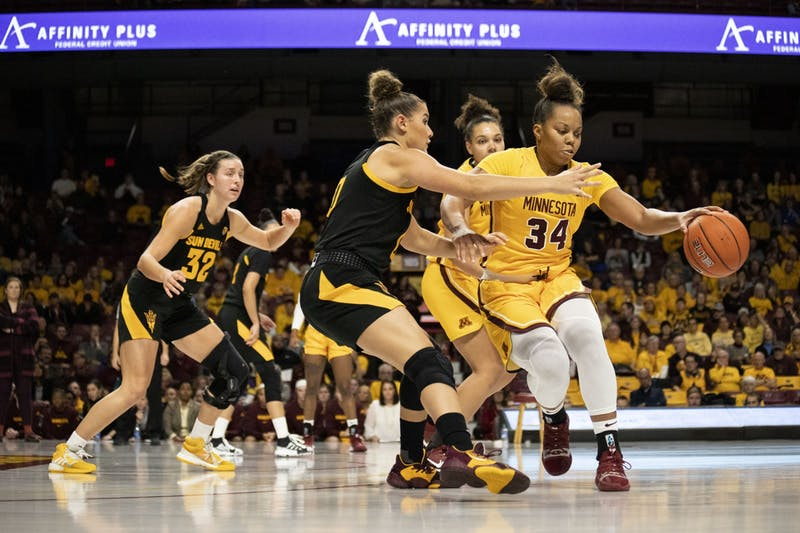 Guard Gadiva Hubbard reaches to grab the ball during the game against Arizona State at Williams Arena on Sunday, Nov. 17. The Gophers defeated the Sun Devils 80-66.