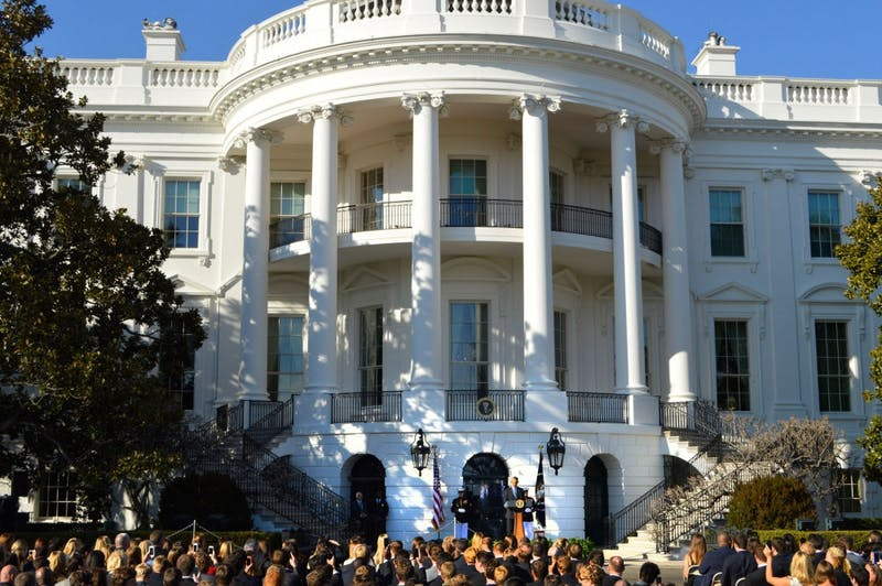President Barack Obama addresses student athletes on the South Lawn of the White House in Washington D.C. on Monday, March 10, 2014. The Gophers women's hockey team was honored at the event.