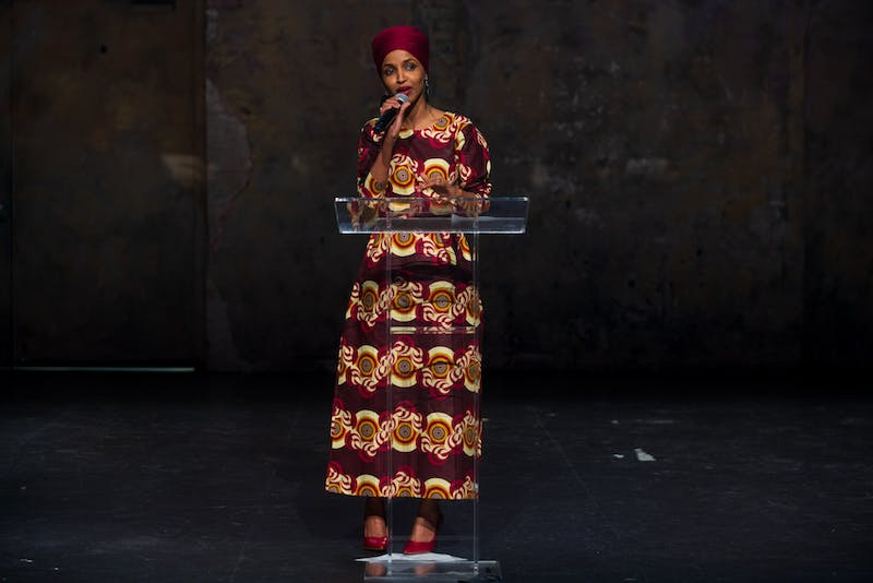 """Congresswoman Ilhan Omar addresses an audience at Ilhan Omar 2020 Reelection Kickoff: """"Send Her Back to Congress"""" at Aria on Thursday, Jan. 23, 2020. (Nur B. Adam / Minnesota Daily)"""