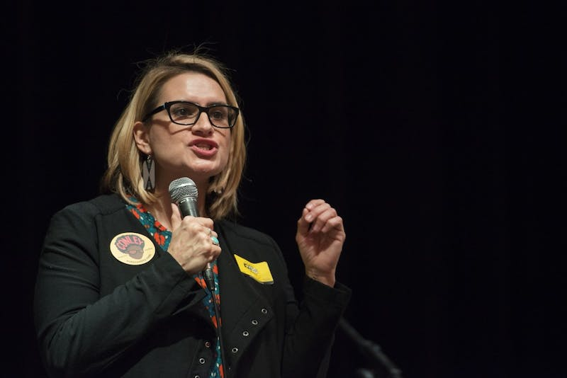 "Candidate for Lieutenant Governor Peggy Flanagan spoke to students and staff at the Vote Concert on Thursday, Oct. 18, in the Coffman Great Hall. Flanagan, a University alumni, noted that she is still paying off loans. ""I don't know if I could afford to attend the U today,"" she said."
