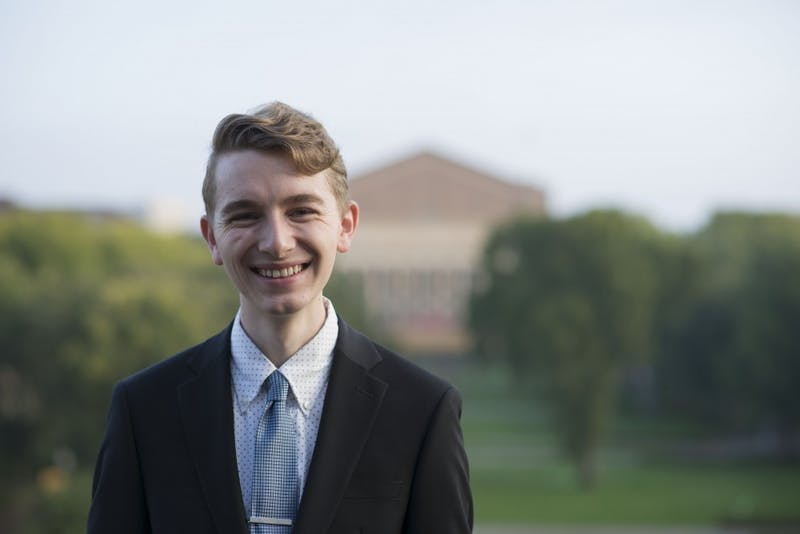 Student Representative to the Board of Regents Austin Kraft poses for a portrait outside of Coffman Memorial Union on Wednesday, Oct. 3.