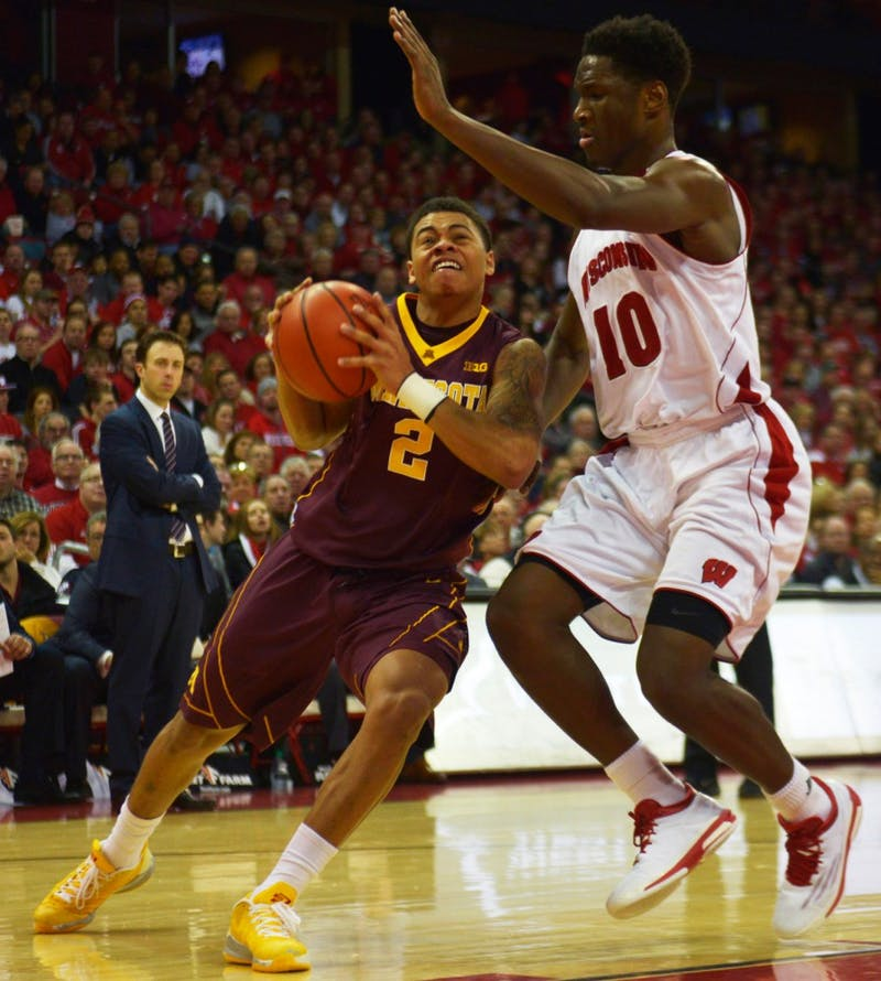 Minnesota guard Nate Mason drives the ball to the basket in the second half against the University of Wisconsin-Madison on Feb. 21, 2015 in Madison, Wis.