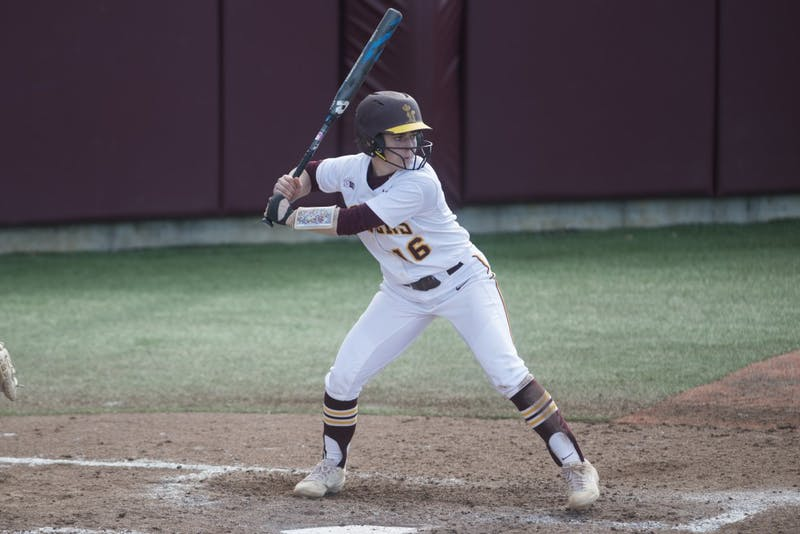 Senior Allie Arneson awaits the pitch on Friday, March 29 at Jane Sage Cowles Stadium in Minneapolis. The Gophers beat the Purdue Boilermakers 5-1.
