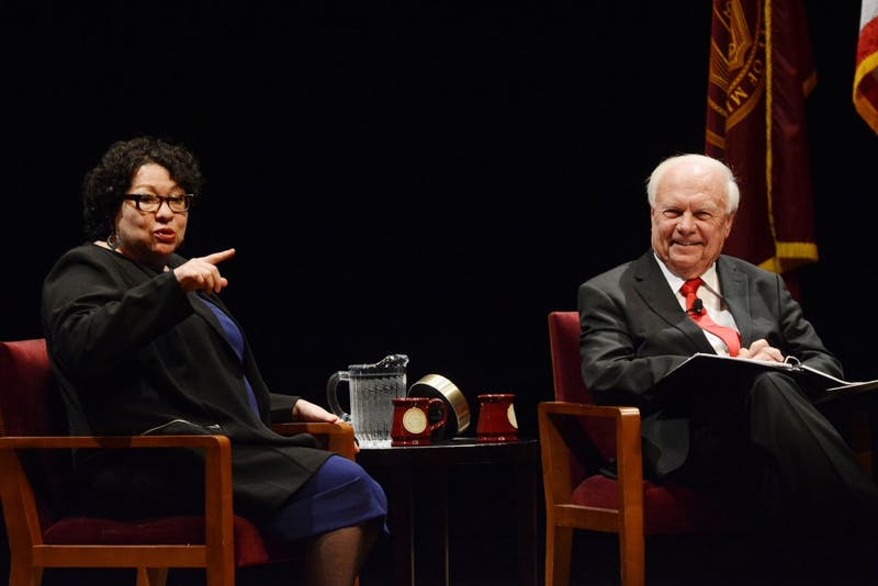 United States Supreme Court Justice Sonia Sotomayor speaks with University professor Robert A. Stein at Northrop Auditorium on Monday, Oct. 17, 2016. The lecture was part of an annual series professor Stein and his wife established to bring lawyers and judges to the University.
