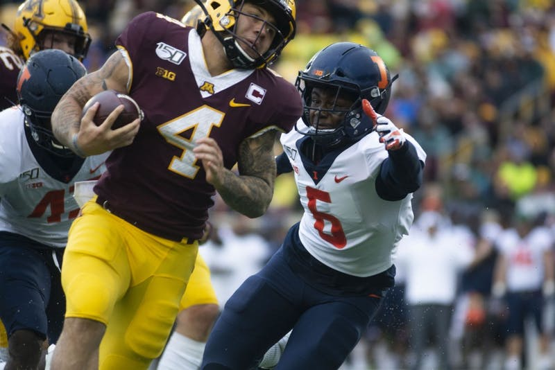 Running back Shannon Brooks carries the ball at TCF Bank Stadium on Saturday, Oct. 5, 2019. The Gophers defeated Illinois 40-17 bringing their record to 5-0.