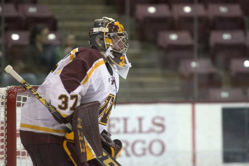 Goalie Eric Schierhorn observes the game at 3M Arena at Mariucci on Friday, Oct. 3.