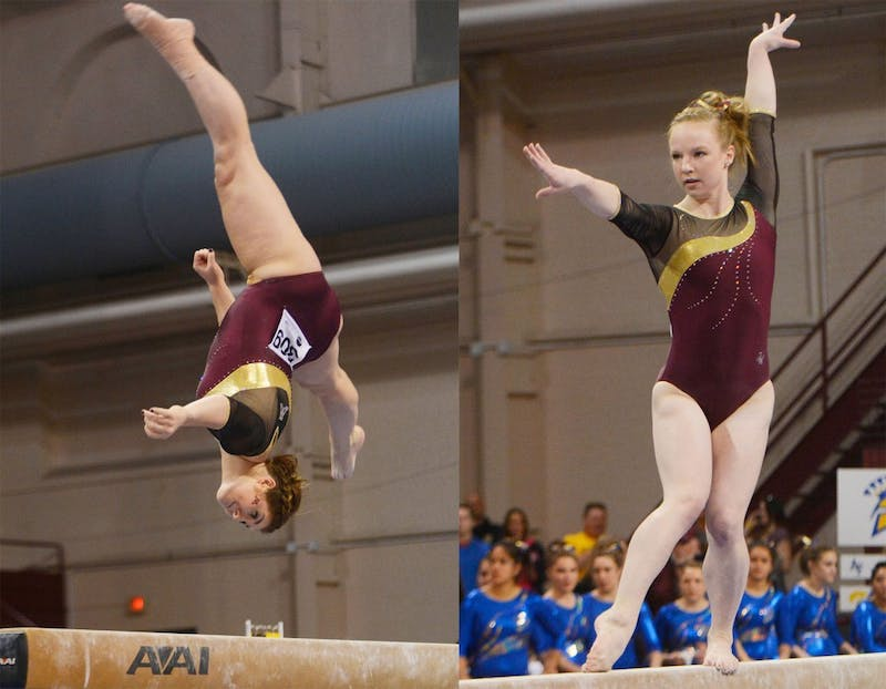 Minnesota gymnasts Hanna Nordquist and Lindsay Mable executes their beam routines at the NCAA regional competition at the Sports Pavillion on Saturday, April 5.