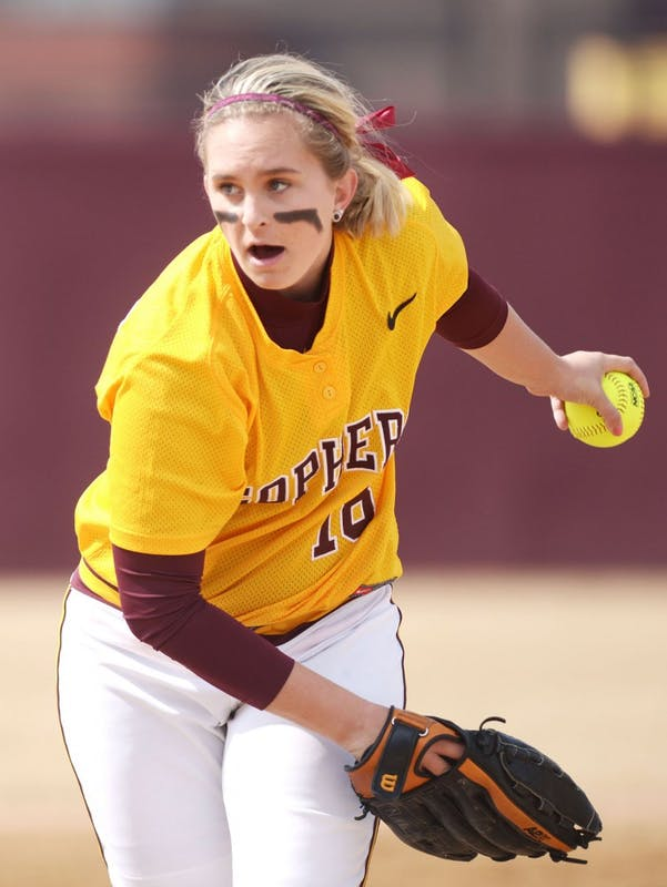 Minnesota pitcher Nikki Anderson pitches during a double header against Madison on Sunday, April 7, 2013, at Jane Sage Cowles Stadium.