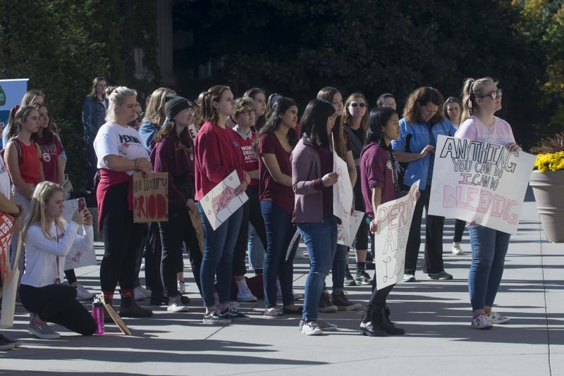 Supporters gather in front of Northrop for the first annual National Period Day on Saturday, Oct. 19.