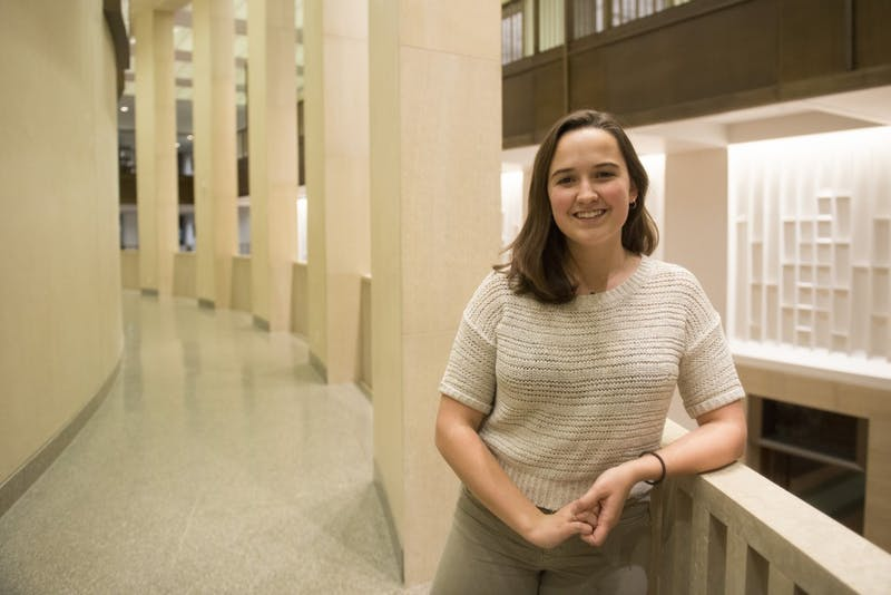 University junior Meara Cline, sexual assault task force chair for the Minnesota Student Association, poses for a portrait in Northrup Auditorium on Monday, Dec. 3. Cline says she holds her position because she wants to make sure every student feels safe and valued on campus.