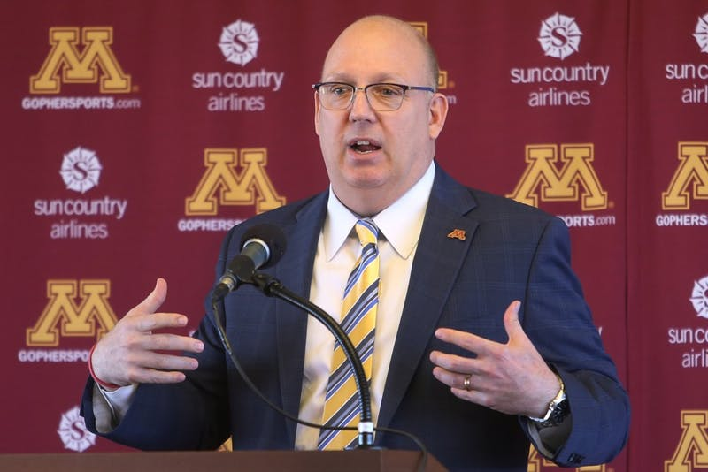 The new University of Minnesota men's hockey coach, Bob Motzko, speaks at a press conference on Thursday, March 29.