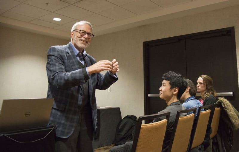 Southwestern Advantage President Dan Moore gives a presentation on Wednesday, Feb. 20 at the Courtyard Marriott hotel on West Bank. Southwestern Advantage is a direct sales company that helps college students start their own business selling educational books door to door.