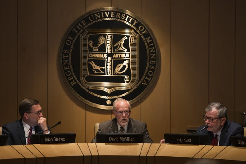 David McMillan speaks during the University's Board of Regents meeting on Friday, Sep. 14 at the McNamara Alumni Center.