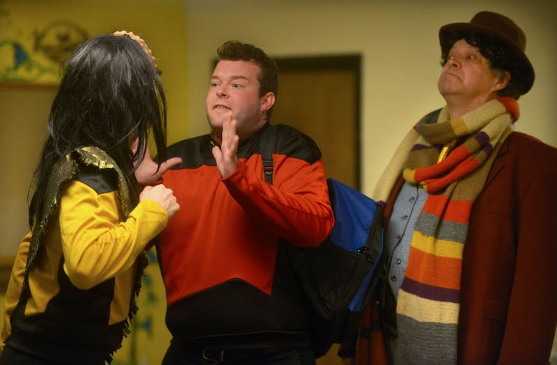 """Actors Phillip Schramm, Brandon R. Caviness and Joel Thingvall in the play """"Stuck in an Elevator with Patrick Stewart"""" featured in the Minnesota Fringe Festival."""