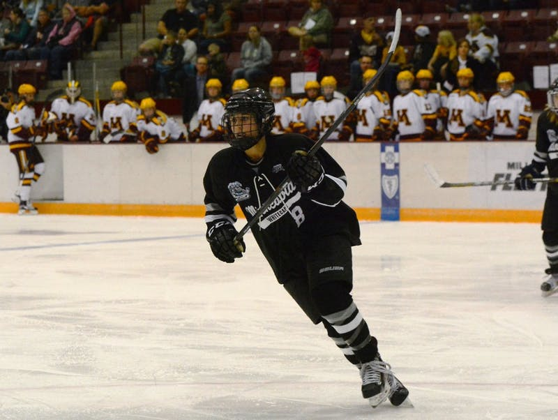 Whitecaps forward and former Minnesota hockey player Rachael Bona plays against the Gophers at Ridder Arena on Thursday, Sept. 24.