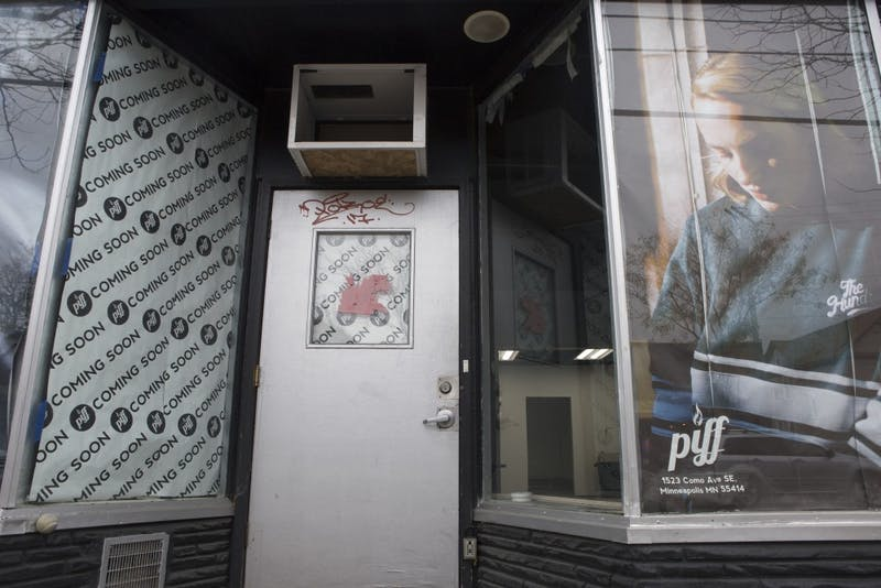 Piff, a clothing store on Como Avenue Southeast near the University of Minnesota, is relocating to a larger space across the street from its original location. The under-construction site is seen on Wednesday, Nov. 1.
