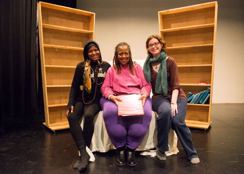 "Left to right, director Nicole M. Smith, writer Amoke Kubat and actress Jennifer Johnson pose for portraits at Intermedia Arts on Wednesday, where their upcoming show ""ANGRY BLACK WOMAN and Well Intentioned White Girl"" will be put on this Saturday."