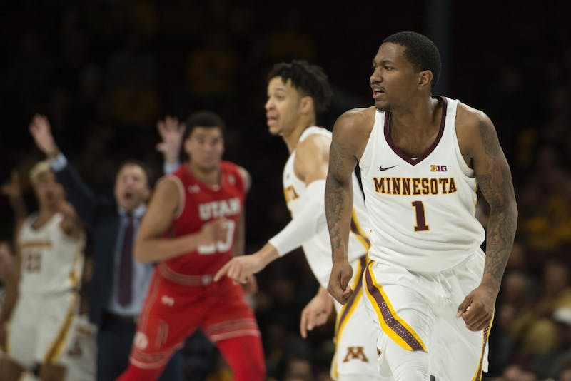 Senior Dupree McBrayer runs down court after injuring his leg on Monday, Nov. 12 at Williams Arena. The Gophers beat the Utes 78-69.