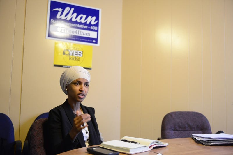 Rep. Ilhan Omar, DFL-Minneapolis, answers questions for the Minnesota Daily in her office on West Bank on Friday, Jan. 27.