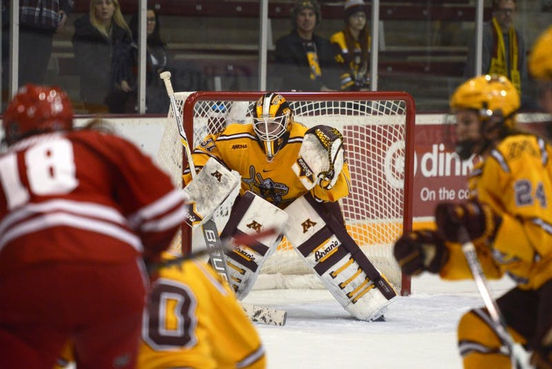 Senior goaltender Sidney Peters guards the goal in the third period at Ridder Arena on Sunday, Oct. 29.