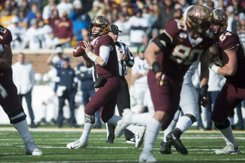 Quarterback Tanner Morgan looks to throw the ball at TCF Bank Stadium on Saturday, Nov. 10.