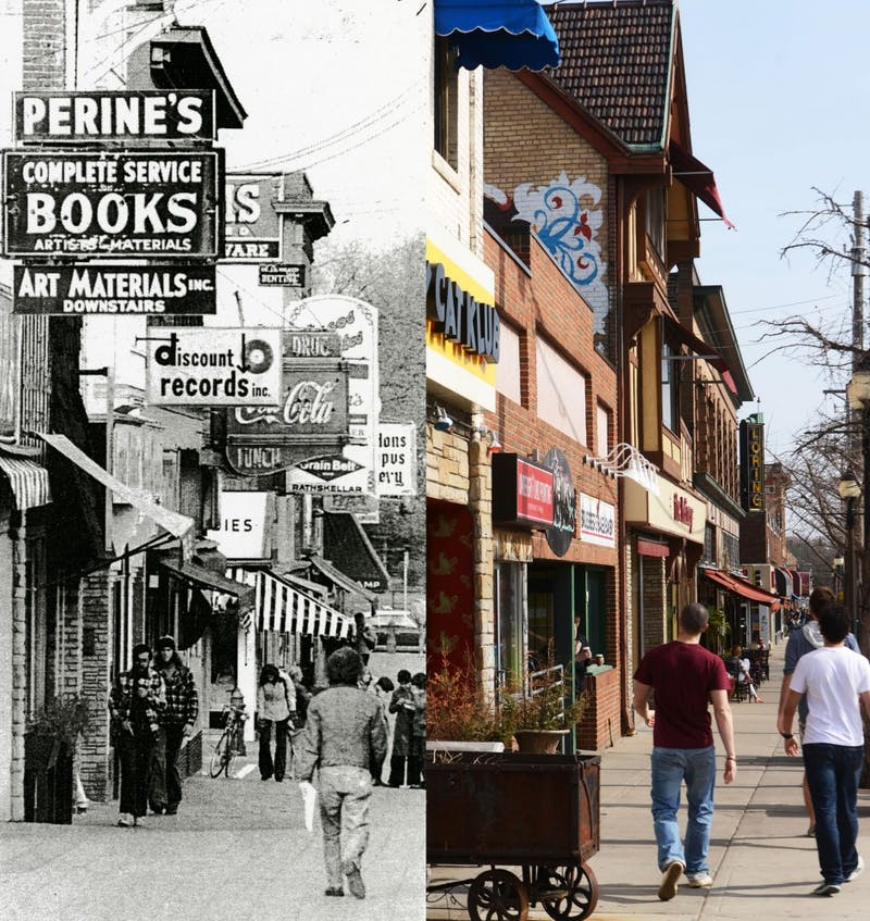 "Dinkytown before and after Minneapolis approved an amendment requiring the removal of overhanging and freestanding commercial signs and billboards measuring more than six square feet, in order to ""clean up and improve the appearance of the Dinkytown area."