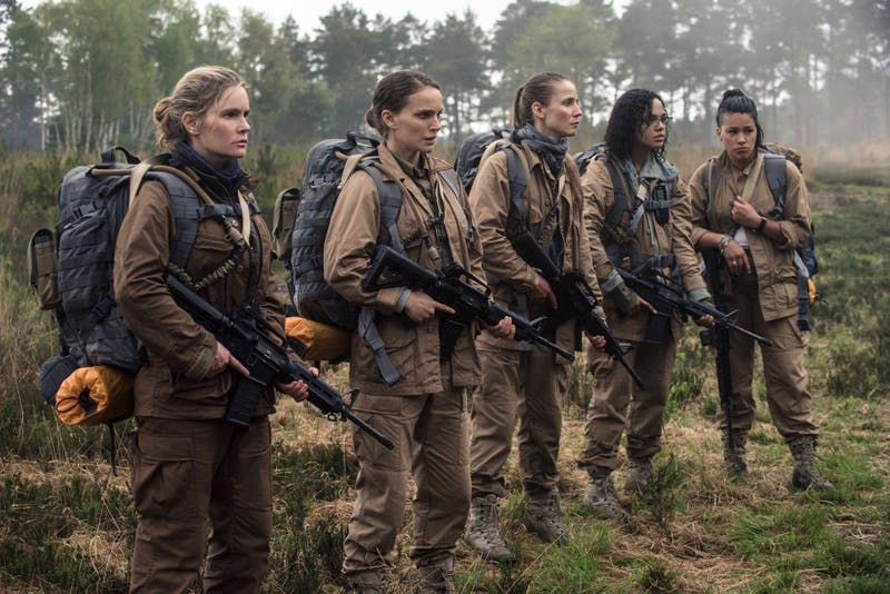 Jennifer Jason Leigh, Natalie Portman, Tuva Novotnyin, Tessa Thompson and Gina Rodriguez in Annihilation.