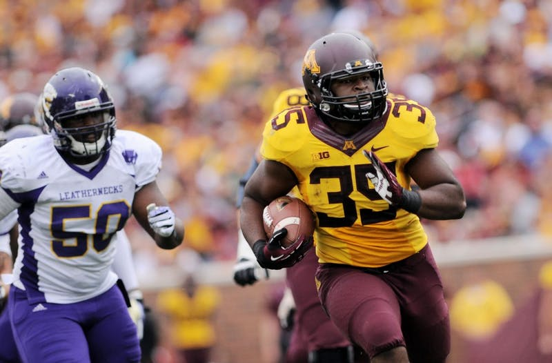 Minnesota running back Rodrick Williams Jr. scampers for a 37-yard touchdown run against Western Illinois Sept. 14 at TCF Bank Stadium.
