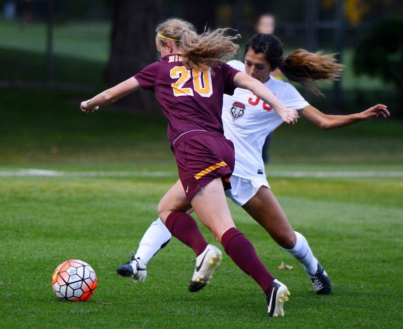 Freshman April Bockin dribbles the ball down the field on Friday's game against the New Mexico Labos. The Gophers won 1-0.