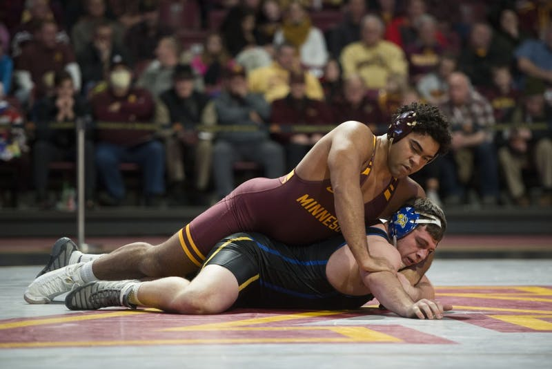 Freshman Gable Steveson at 197 competes during the match against South Dakota State on Sunday, Nov. 25 at Maturi Pavilion.