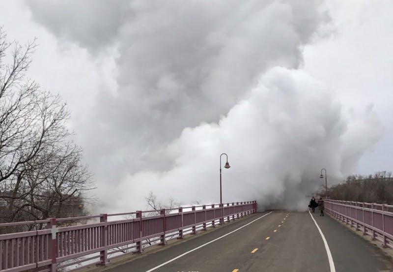 Large plumes of steam rise over the Northern Pacific pedestrian bridge on Tuesday, Feb. 28, 2017. Passersby said the noise was deafening.
