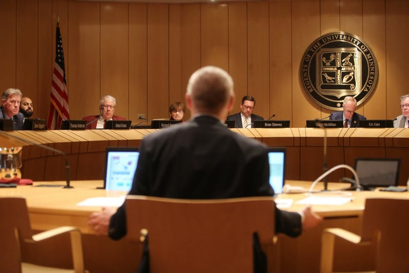 The Board of Regents listen to Medical School Dean Jakub Tolar present during a regents meeting on Friday, May 11, 2018 at McNamara Alumni Center.