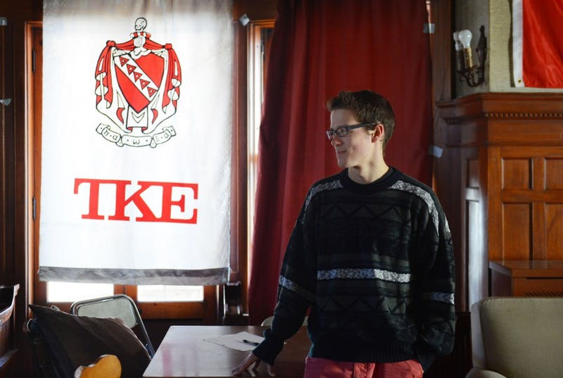 Junior JD Braun stands in his fraternity Tau Kappa Epsilon, Monday afternoon. IFC elections were held last week and Braun will take over as president.