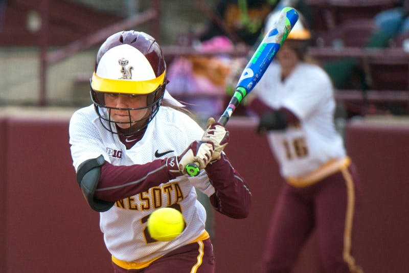 Gophers infielder Danielle Parlich prepares to hit the ball Tuesday during the border battle double-header at Jane Sage Cowles Stadium on April 12, 2016.