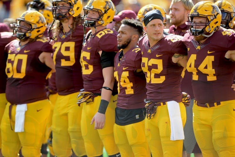 The Gophers after winning against Indiana State on Saturday, Sept. 10, 2016 at TCF Bank Stadium.