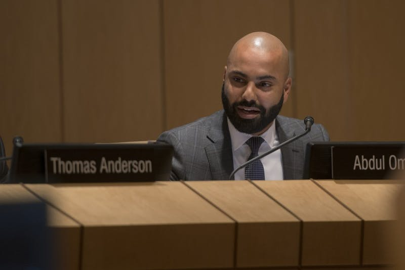 Abdul Omari speaks during the University's Board of Regents meeting on Friday, Sep. 14 at the McNamara Alumni Center.