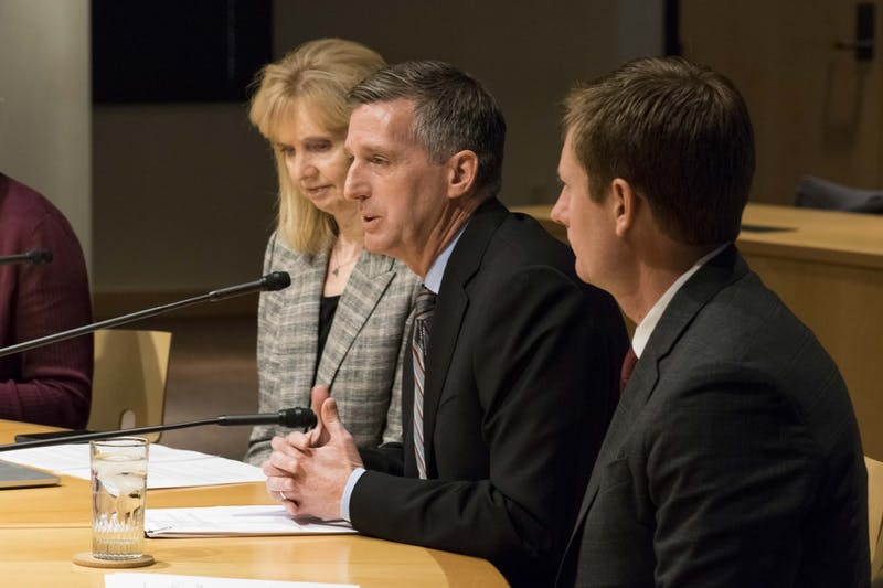 Athletic Director Mark Coyle addresses the board of regents in regards to a contract extension signed by head football coach P.J. Fleck at the McNamara Alumni Center on Thursday, Nov. 14. The deal, signed by Fleck last week, extends his contract through the 2026 season and will increase his base salary to $4.6 million.