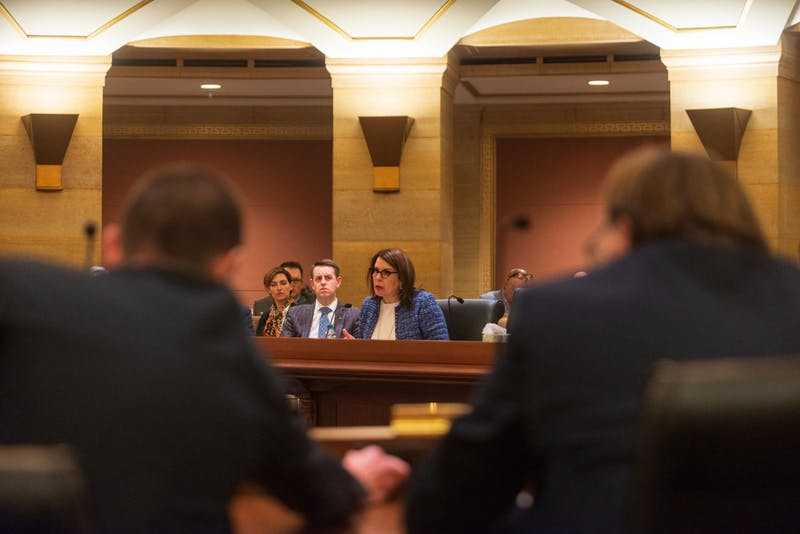 University of Minnesota President Joan Gabel addresses the Minnesota Senate on the University's plans to contend with COVID-19, otherwise known as the Coronavirus, at the State Capitol on Tuesday, March 10.