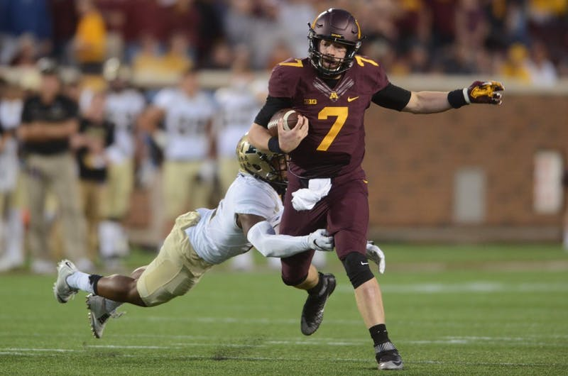 Gophers quarterback Mitch Leidner is tackled during the Gophers' game against Purdue at TCF Bank Stadium on Nov. 5, 2016.