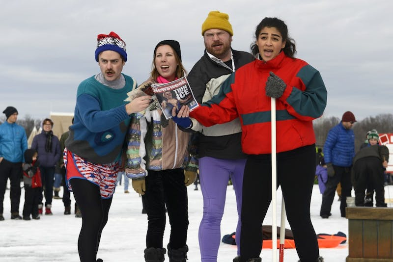Performers in the artist group Mixed Precipitation perform Tonya and Nancy: The Opera during the Art Shanty Projects event on Lake Harriet in Minneapolis on Satuday, Jan. 20.