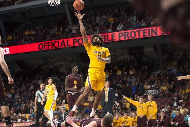 Forward Jordan Murphy looks to shoot at Williams Arena on Thursday, Nov. 1. The Gophers defeated the Bulldogs 109-53.