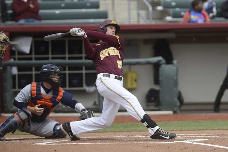 Junior Toby Hanson bats for the Gophers during their game against Illinois on Saturday, April 29, 2017 at Siebert Field.
