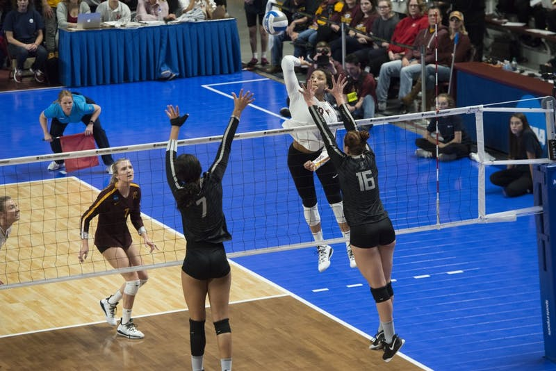 Outside hitter Alexis Hart jumps to spike the ball at the Maturi Pavilion on Friday, Dec. 7. The Gophers were upset by Oregon, losing 3 sets to 1.