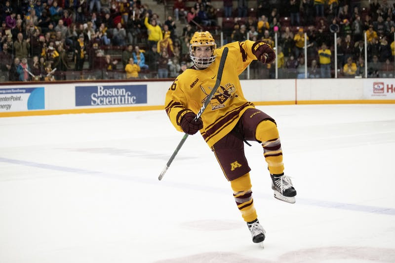 Amy Potomak celebrates the winning goal scored against the Badgers in Ridder Area on Sunday, Nov. 3.