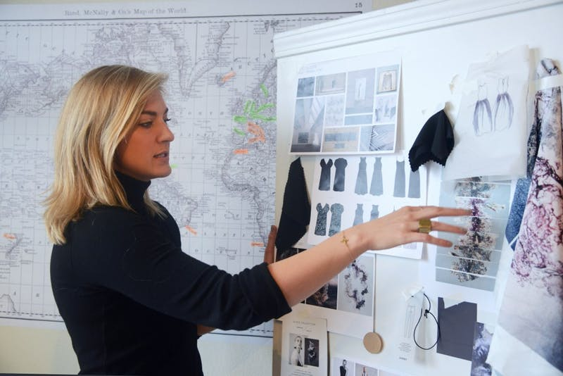 Univeristy of Minnesota graduate Allison Quinell goes through the inspirations for her collection in her apartment studio in the North Loop on Tuesday, April 3. Quinell's Slate Collective debuts on April 23 at Le Méridien Chambers in downtown Minneapolis.