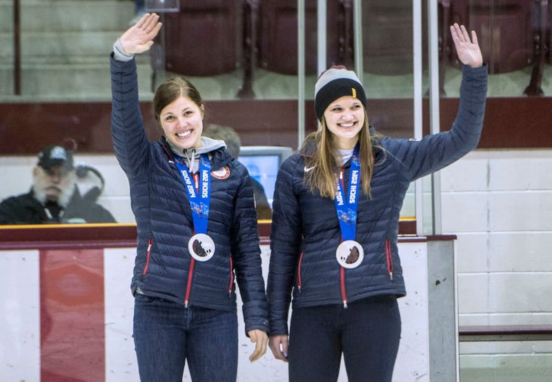 Olympic silver medalists Anne Schleper and Lee Stecklein attended Friday night's gopher women's hockey game against St. Cloud State. Schleper is a recent alumna, and Stecklein is an enrolled freshman.